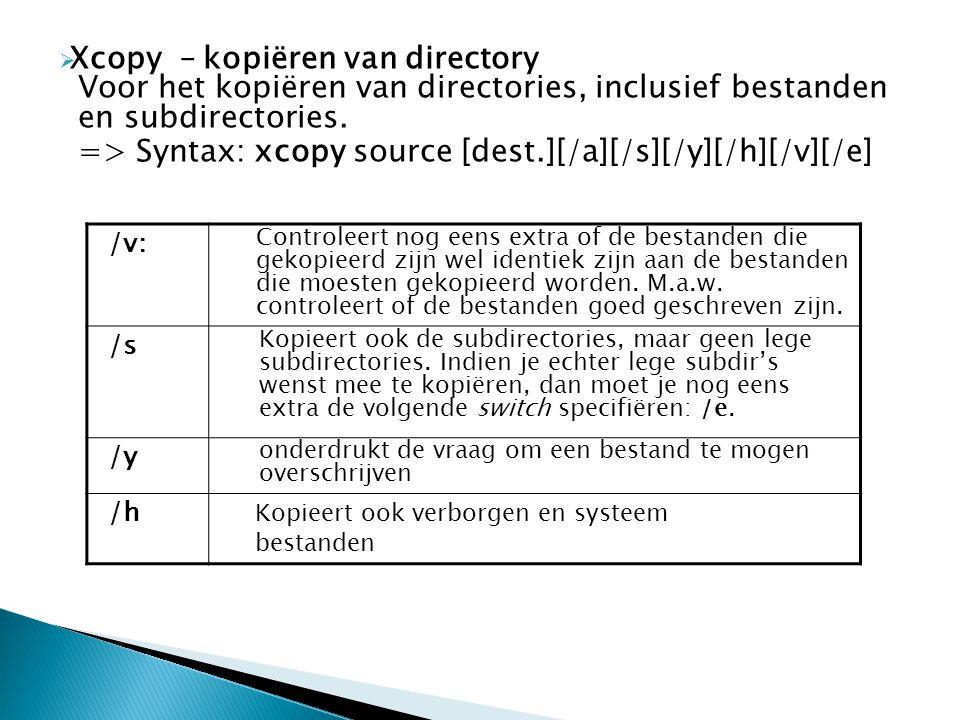 => Syntax: xcopy source [dest.][/a][/s][/y][/h][/v][/e]